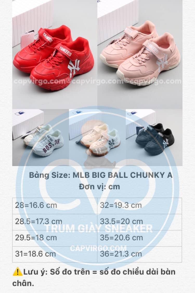 Bảng size giày trẻ em MLB Big Ball Chunky A