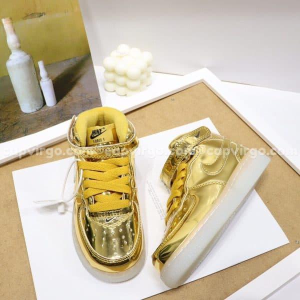 Giày trẻ em nike Force 1 đế đèn màu vàng