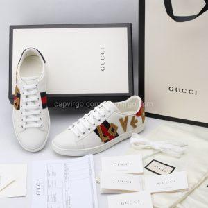 Giày gucci cặp đôi màu trắng họa tiết love