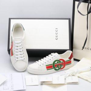 Giày gucci màu trắng gót 2 màu xanh đỏ