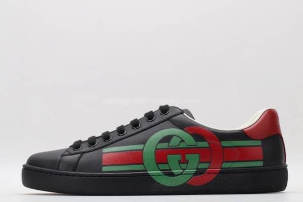 Giày gucci màu đen họa tiết GC 2 màu