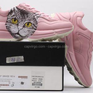 Giày gucci Rhyton màu hồng họa tiết mèo