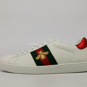 Giày gucci ong màu trắng gót 2 màu bóng