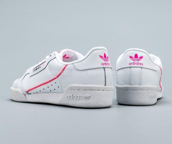 Giày Adidas Continental drop step màu trắng viền logo hồng