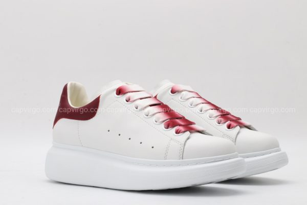 Giày McQueen rep 1:1 màu trắng gót đỏ mận