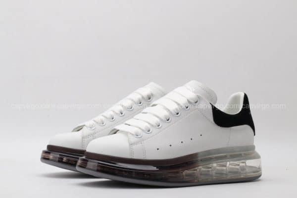 Giày McQueen trắng đế màu nâu cafe