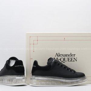 Giày McQueen đế hơi màu đen sần gót nỉ đen
