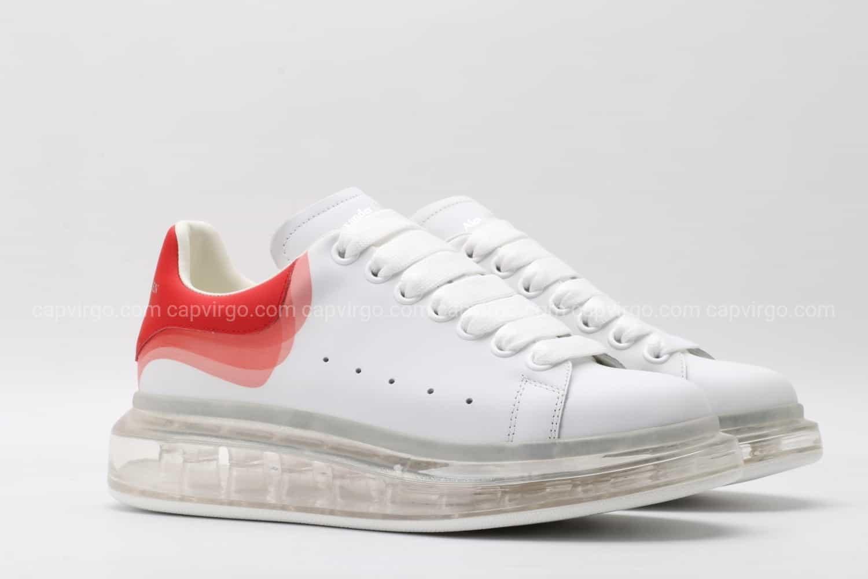 Giày McQueen đế hơi gót 3 viền màu đỏ