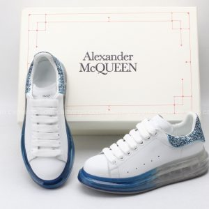 Giày McQueen đế hơi mũi xanh gót kim tuyến