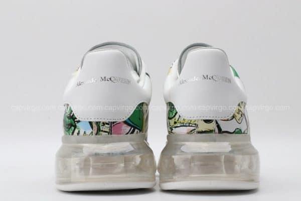 Giày McQueen đế hơi paint họa tiết lá bài màu xanh