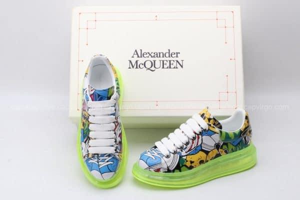Giày McQueen đế hơi paint đế màu vàng chanh