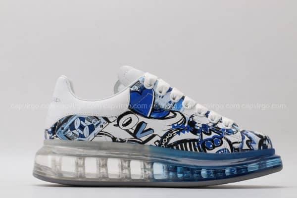 Giày McQueen họa tiết paint hình quân bài màu xanh nước biển