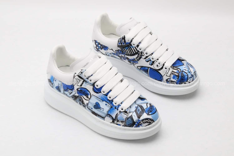 Giày McQueen họa tiết paint xanh dương