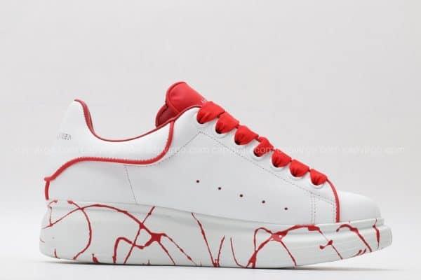 Giày McQueen rep 1:1 trắng dây đỏ họa tiết vân đỏ