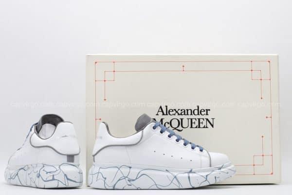 Giày McQueen rep 1:1 trắng dây xanh họa tiết vân