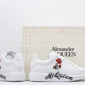 Giày McQueen full trắng họa tiết nhành hoa hồng