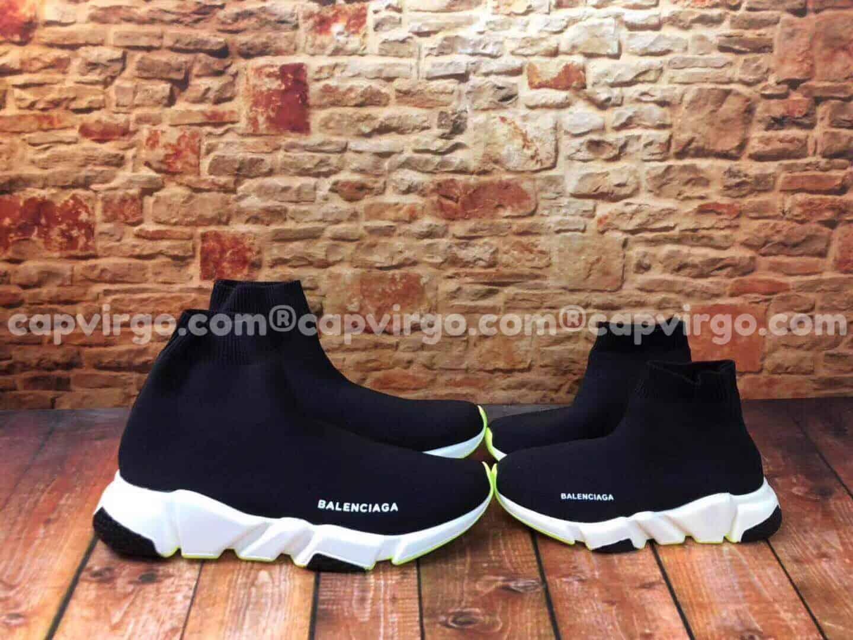 Giày Balenciaga cao cổ màu đen đế xanh lá mạ