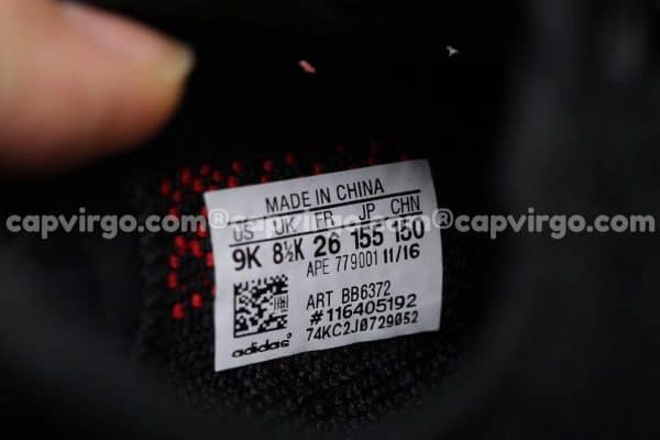 Giày trẻ em Yeezy 350 đen chữ đỏ PK GOD