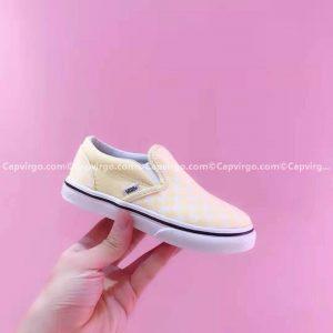 Giày Vans lười Harry Potter kẻ caro màu trắng vàng