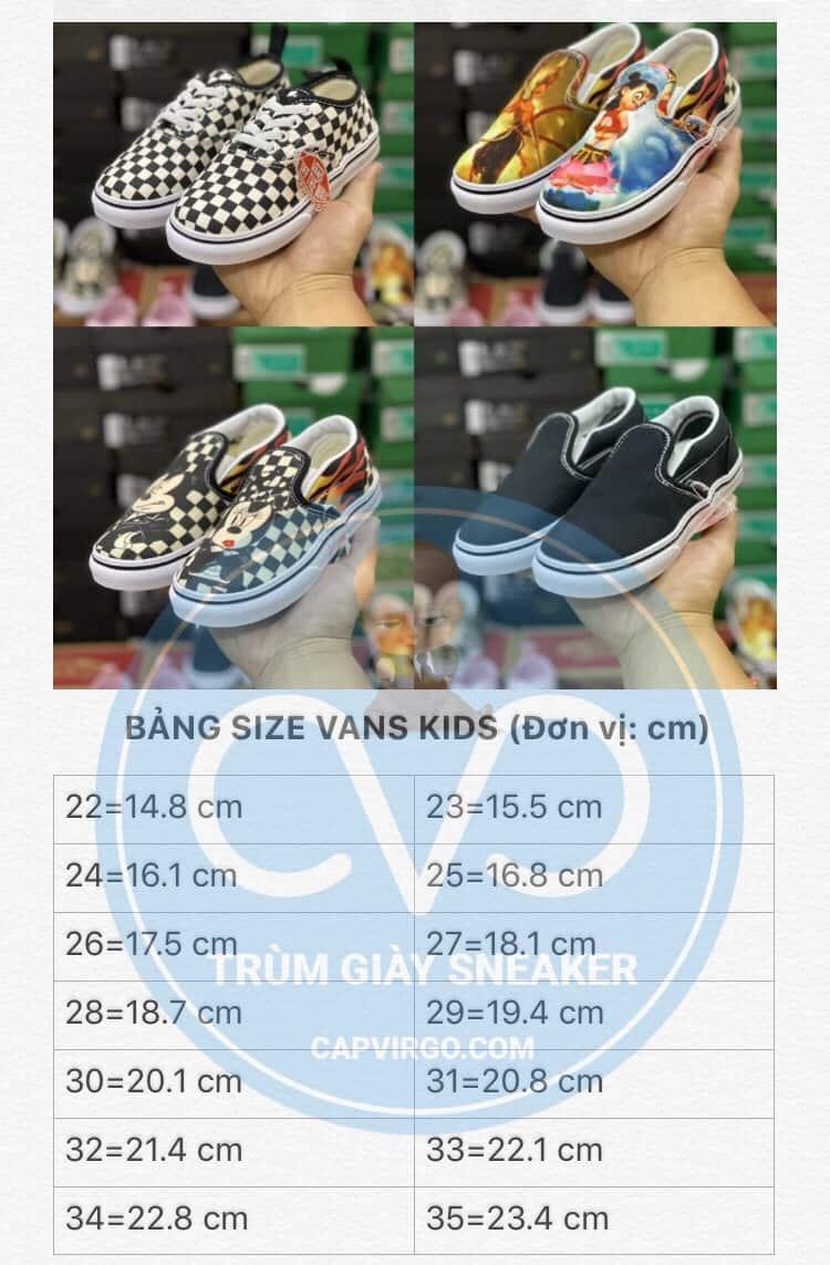 Bảng size giày Vans trẻ em