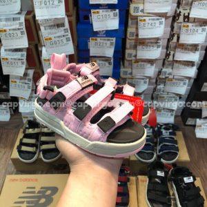 Sandal NB trẻ em 3 quai dán dính màu hồng