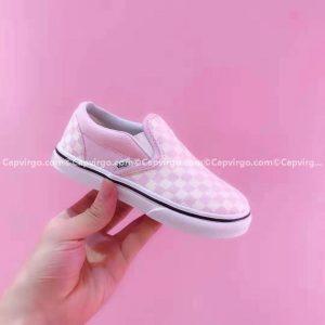 Giày Vans lười Harry Potter kẻ caro màu trắng hồng