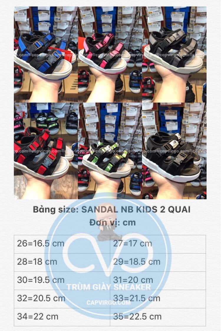 Bảng size Sandal NB trẻ em 2 quai