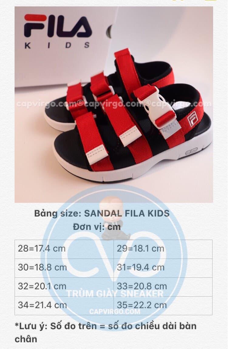 Bảng size sandal FILA trẻ em 3 quai