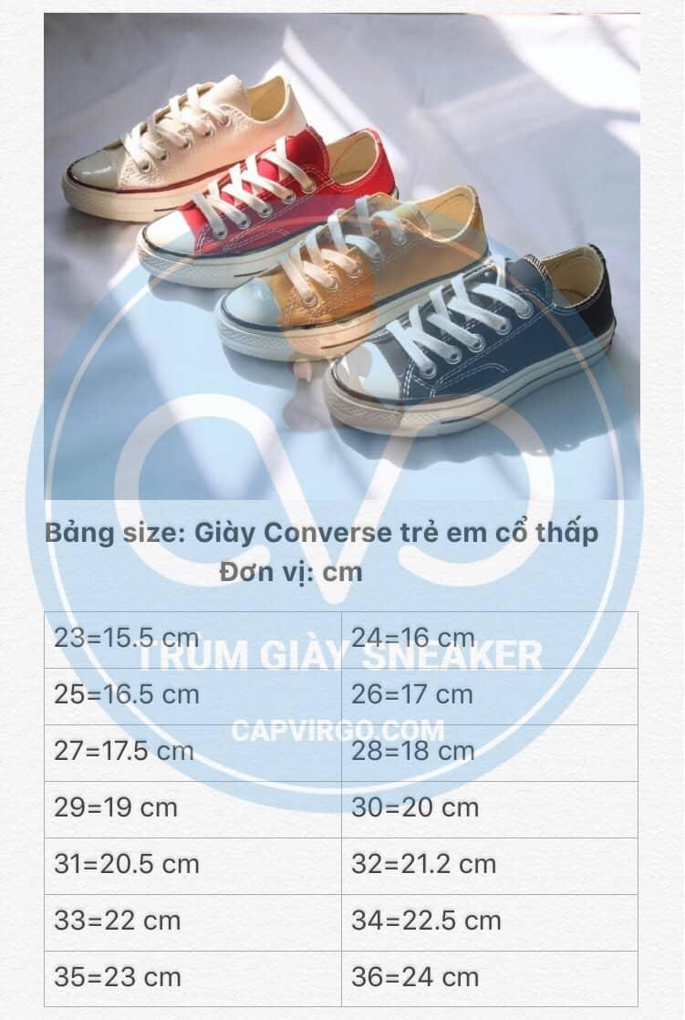 Bảng size giày Converse 1970s trẻ em