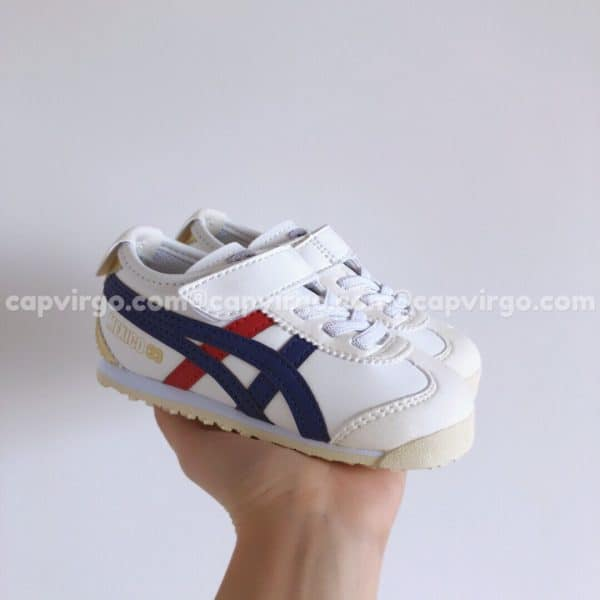 Giày trẻ em Onitsuka Tiger màu trắng sọc xanh than