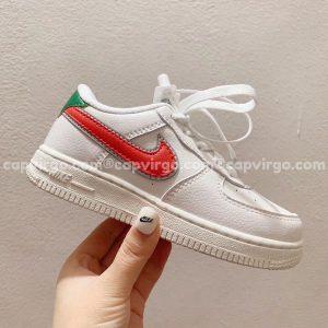 Giày trẻ em nike Air Force 1 trắng gót xanh lá