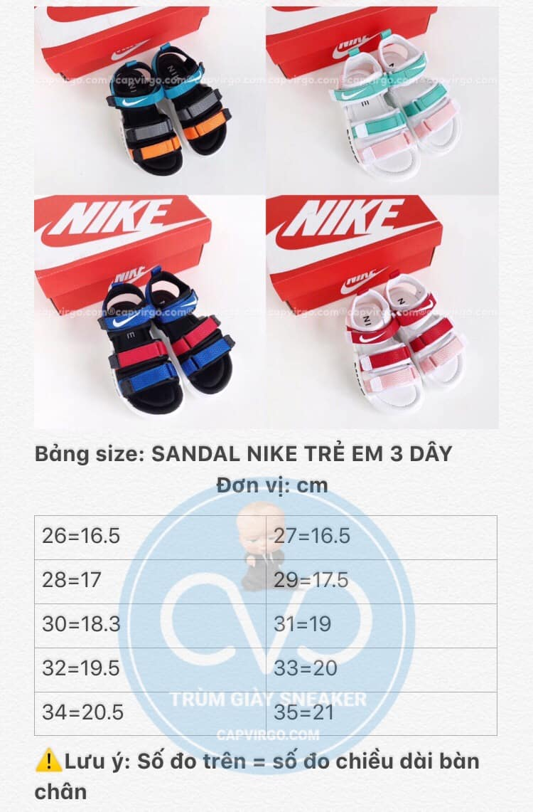 Bảng size Sandal Nike trẻ em 3 dây