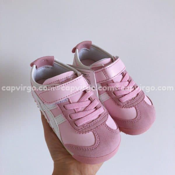 Giày trẻ em Onitsuka Tiger màu hồng sọc trắng