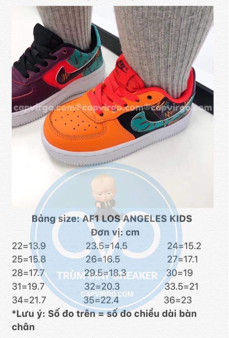 Bảng size giày trẻ em nike Air Force Los Angeles