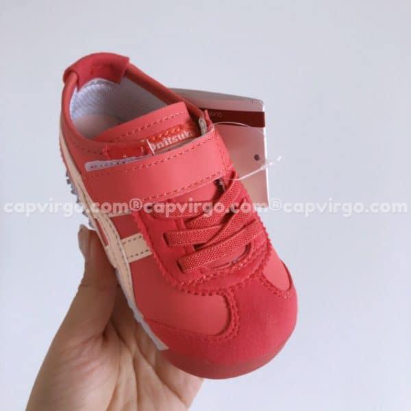 Giày trẻ em Onitsuka Tiger màu đỏ sọc trắng