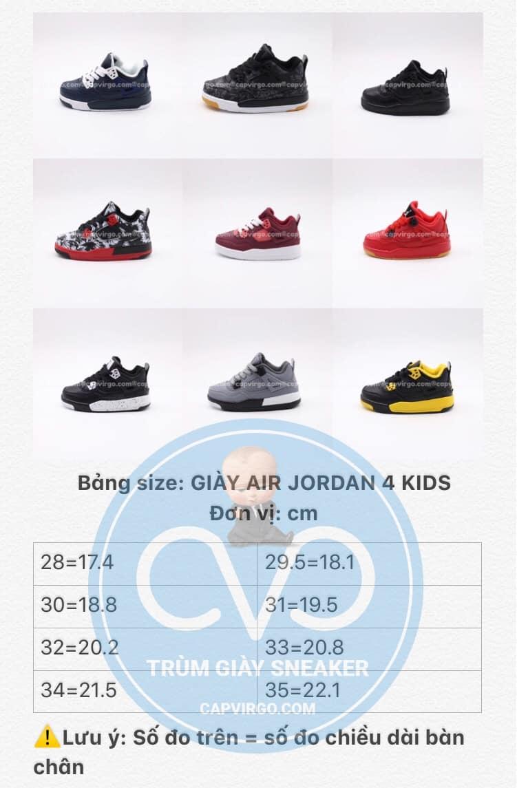 Bảng size giày trẻ emAir Jordan 4