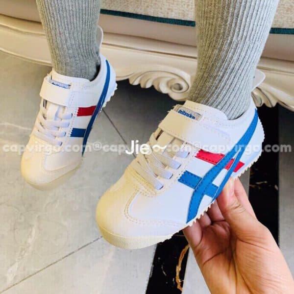 Giày trẻ em Onitsuka Tiger màu trắng sọc xanh dương