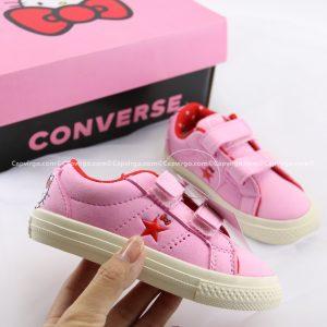 Giày Converse Kitty dán dính màu hồng cổ thấp