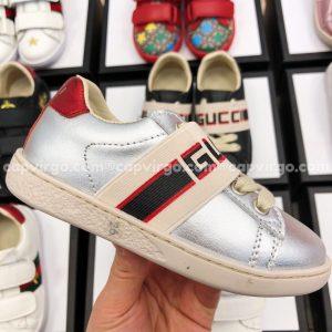 Giày Gucci trẻ em màu bạc sọc GUCCI