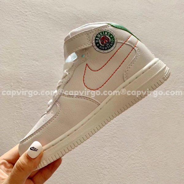 Giày trẻ em nike Air Force 1 trắng gót xanh lá cao cổ