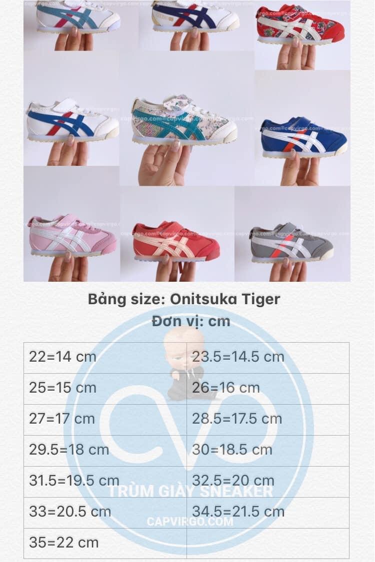 Bảng size giày trẻ em Onitsuka Tiger