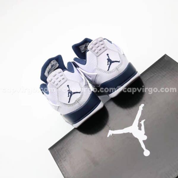 Giày trẻ em Air Jordan 4 màu trắng đế xanh navy