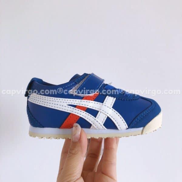 Giày trẻ em Onitsuka Tiger màu xanh dương sọc trắng