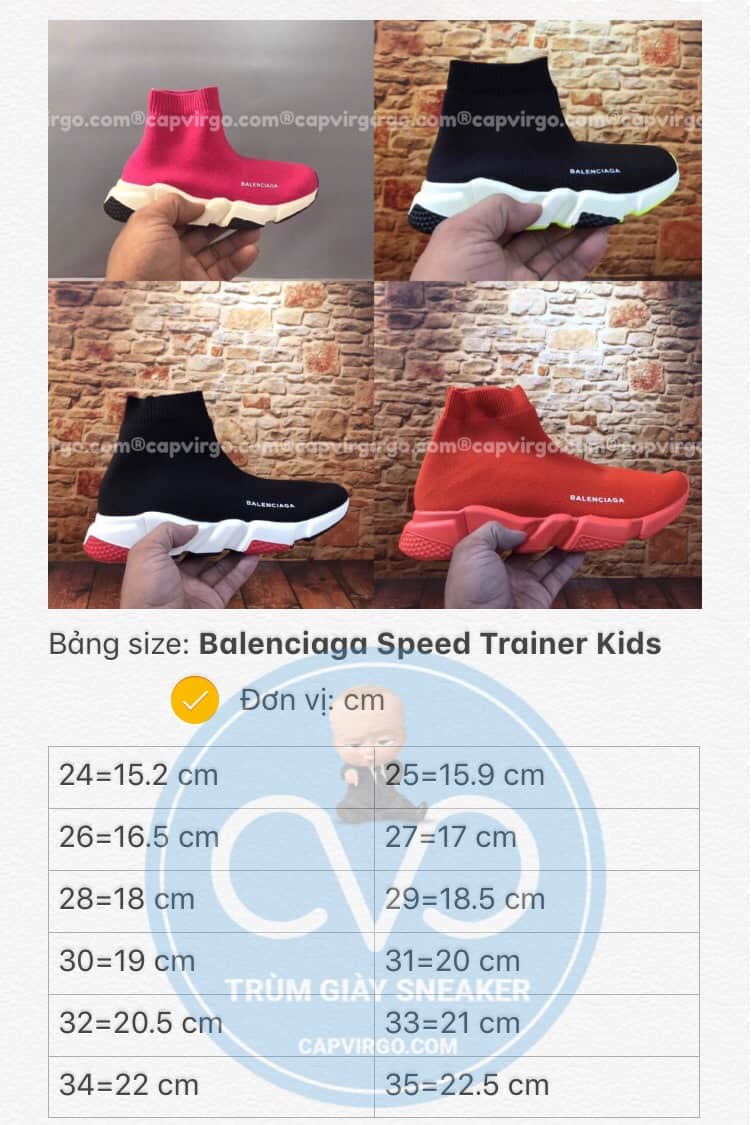 Bảng size giày trẻ em Balenciaga cao cổ