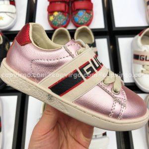 Giày Gucci trẻ em màu hồng sọc GUCCI