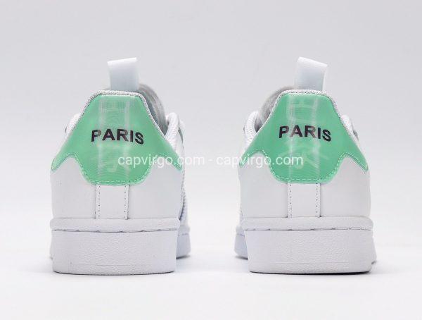 Giày Adidas Super Star full trắng gót xanh ngọc