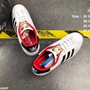 Giày Adidas Super Star trắng sọc đen lót đỏ