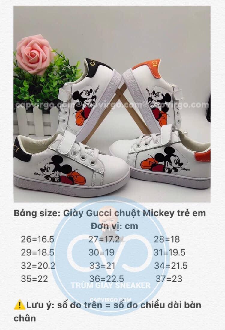 Bảng size giày Gucci Chuột Mickey trẻ em