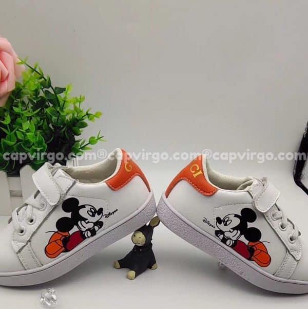 Giày Gucci Chuột Mickey trẻ em màu trắng gót cam