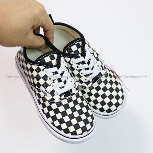Giày Vans buộc dây họa tiết caro đen trắng